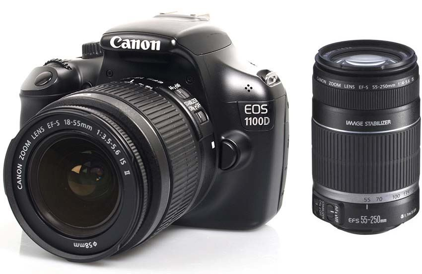 Canon 1100D with 18-55mm IS II + 55-250 Lens